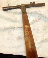 Antique Strapped Tack Hammer With Nail  Puller dog head - Very Unusual item