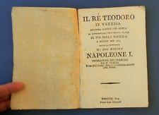 Libretto Opera Lirica Teatro Pergola Firenze 1810 Re Teodoro Paisiello Casti
