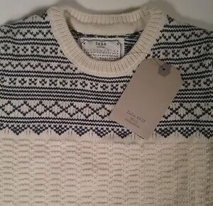 Zara Boys 100% Cotton Pullover Sweater Nordic Blue Cream SOFT Cable Sweater NEW