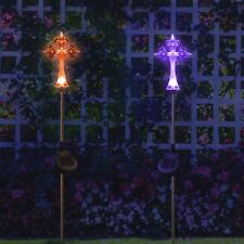 2 PACK Solar Powered Cross Yard Garden Stake Color Changing LED Lights NEW