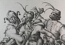 Jakob de Gheyn II - Jacques de Gheyn : Tanzende Narren - Kupferstich um 1595 RAR
