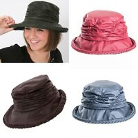 Ladies Rouched Wax Waterproof  Rain Hat in 4 Colours .Free fast post 24-48 hours