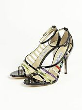Jimmy Choo Strap Sandal/Genuine Leather/38/Animal Embossing/Heel Height 4.1 inch