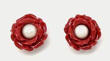 Perla Pendientes Rosa Rojo y Perla Plata de Ley 925