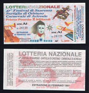 Biglietto Lotteria Nazionale - Sanremo / Acireale / Oristano 1997
