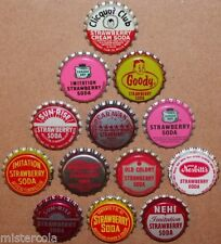 Vintage soda pop bottle caps STRAWBERRY FLAVORS Lot of 13 different unused