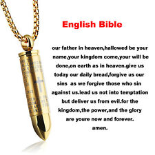 Men English Lord's Prayer Stainless Steel Cross Bullet Pendant Chain Necklace