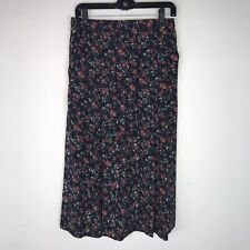 Rrruss Russ Skirt Maxi Black Background Floral Vintage Pleated Pockets Size 8