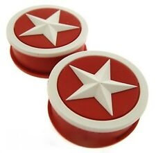 PAIR RED/WHITE STAR 6G 4MM SOFT SILICONE PLUGS PLUG GAUGES PLUG TUNNELS