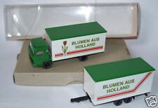 MICRO WIKING HO 1/87 CAMION VERT MAGIRUS & REMORQUE BLUMEN AUS HOLLAND in box