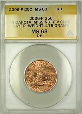 2006 North Dakota State Quarter Coin ERROR Missing Rev Clad Layer ANACS MS-63 RB