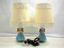 VINTAGE PAIR BLUE PORCELAIN TABLE LAMPS FRINGE SHADE BEDROOM TV DEN LIVINGROOM