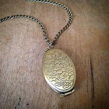 Necklace - Engraved Pendant & Chain Antique Bronze Oval Four (4) Picture Locket