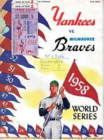 1958 World Series program Gm.3 Milwaukee Braves @ New York Yankees,scored~w/Tix!