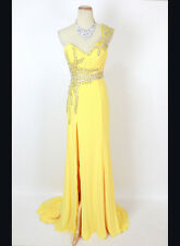 New Authentic Terani JP604 Yellow Beaded, One-Shoulder Bridal Prom Women Gown 2