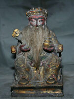"""10.4 """"Vieux Chine Bois Laque Feng Shui Mammon Argent Richesse Dieu Ruyi Statue"""
