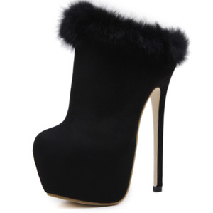 Womens Platform Shoes Stiletto High Heels Fur Ankle Boots Ladies Sexy Slip-on US