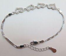 Fine Pure S925 Sterling Silver Men Women  Heart Box Chain Bracelet/ Adjustable