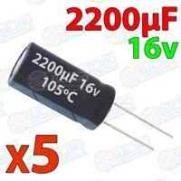 Condensadores electroliticos 2200uF 16v ±20% 10x25mm - Lote 5 unidades - Arduino