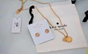 Kate Spade Set of Spot the Spade Pave Pendant and Earrings in Gold 100% Athntc