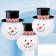 Bonhomme de Neige Avec Chapeaux Suspendu Papier Lanterne Décorations X 3