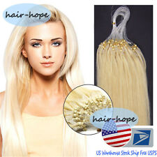 """Micro Ring Beads Loop Tip Brazilian Remy Human Hair Extensions 16""""18""""20"""" US Ship"""