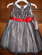 NWT ~ YOUNGLAND black white metallic silver sleeveless dress red bow flower ~ 3T