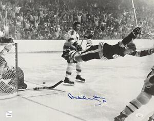 Bobby Orr Signed Boston Bruins B&W Flying Goal 16x20 Hockey Photo JSA GNR