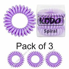 Hair Bands Telephone Wire Style Pack of 3 Genuine KODO Spiral LILAC Hair Bobbles