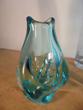 Design Vintage 50 Rare Soliflore Forme libre Verre Turquoise DLG Schneider Daum
