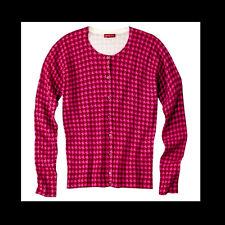 Merona NEW Houndstooth Plaid Cardigan Sweater Womens PLUS 2X Hot Pink Burgundy