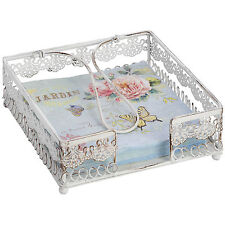 Cream Distressed Metal Napkin Holder Floral Fretwork Pattern Spring Holder 19cm