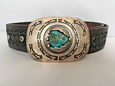 Vintage Navajo Mary B Smith Sterling Silver Turquoise Belt Buckle Leather Belt