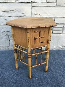 Antique Victorian OctagonalJapanned Oriental Pyrography Bamboo Table w Swastika