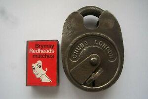 Vintage Antique Chubb London Padlock Patent #949 + Key Heavy Large Iron