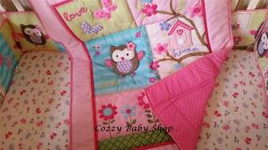 Baby Bedding Set 7pc Cot Crib Quilt PINK OWL Sheet Bumpers Girl Nappy Stacker
