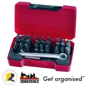 "Teng Tools Mini Bit & Driver Set with 1/4"" Ratchet Tool TM029 Hex Pozi PH TX TPX"