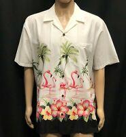 Vintage RJC Hawaiian Shirt Mens XL Flamingos Palm Trees Made USA 1980s