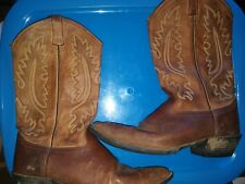 Old West cowboy boots Mens size 12 D Brown Leather Good western boot rubber sole