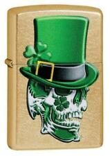 "Zippo Lighter ""Irish Skull in Top Hat"" No 49121 - New on gold dust finish"