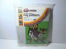 "Caron Owls Latch Hook Rug Canvas Pre-printed Design 20 x 27"" Crafts"