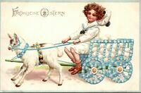 Vintage Emossed Erika Easter Postcard - Flowered Cart w Eggs Pulled by Goat