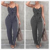 Women Sleeveless Striped Long Jumpsuit Rompers Casual Clubwear Wide Leg Pants 2X