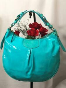"Dooney & Bourke ""Luisa"" Teal/ Turquoise Blue Patent Leather Large Hobo Bag"