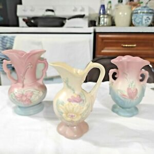 Lot of 3 Vintage Hull Art Pottery Wildflower Vase