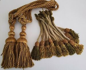 Vintage Curtain Drapery Tassle Rope Tie Back Lot of 12 Gold Green