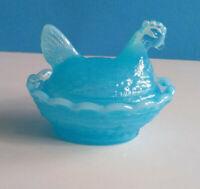 Boyd Baby Blue Glass Chicken/Hen on Nest Salt Dish Released Oct 8 1987