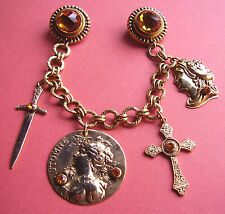 71 /  BROCHE DOUBLE A PENDELOQUES / ANNEES 80