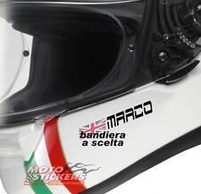 1 Nomi adesivi casco + bandiera a scelta - visiera moto auto