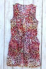 GUESS Women's Dress Cheetah Print Sleeveless Shirt Style Dress L 100% Polyester